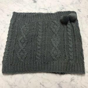 Women's Grey Cable Knit Pom Pom Infiniti Scarf